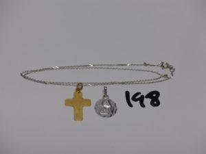 1 chaîne maille forçat en or (L40cm) 1 médaille en or à décor d'1 ange et 1 croix. PB 3,6grs