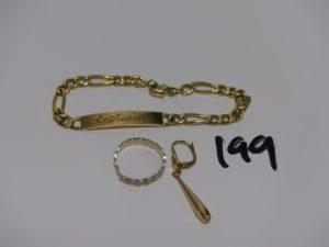 1 pendant en or, 1 alliance fendue en or, 1 bracelet gourmette gravée Catherine (L18cm, fermoir à fixer et anneau de bout à souder). PB 10,7grs