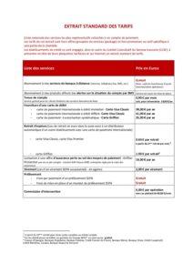 Extrait standard des tarifs au 1er mai 2019