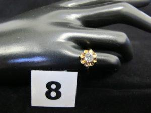 1 bague en or ornée d'une pierre (TD48, manque 1 griffe). PB 1,9g
