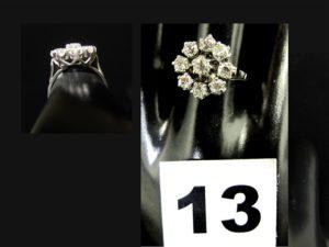 1 bague pompadour or gris sertie de 9 diamants taille ancienne (TD 57). PB 4,7g