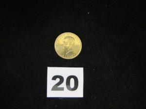 1 pièce en or 22 carats, Turque de 1923 (diam 2,2cm). PB 7,2g