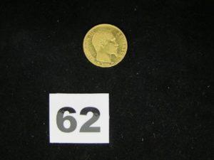 1 pièce Napoléon III de 20Fr, année 1856PB 6,4g