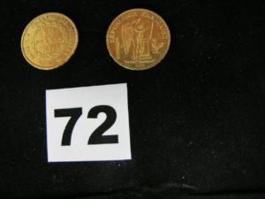 1 pièce 20Fr or (année 1877) et 1 pièce 20Fr or (année 1877). PB 12,8g