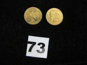 1 pièce 20Fr or (année 1910) et 1 pièce 20Fr or (année 1912). PB 12,8g