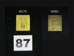 1 Médaille Timbre poste de 5frs frappée de la monnaie de Paris en or pur 24K. PB 5,6g (2,5 x 2cm).