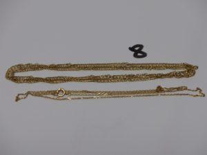 2 chaînes en or (1 maille plate torsadée L55cm et 1 fine maille forçat L50cm). PB 10,4g