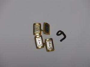 """1 paire de boutons de manchettes bicolore en or gravés de la lettre """"G"""". PB 9,3g"""