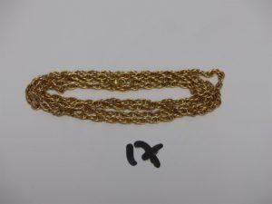 1 chaîne maille tressée et torsadée en or (L73cm). PB 20,2g