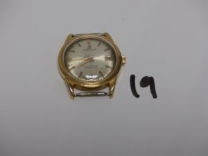 1 montre de marque Breitling Transocean (Chronomètre) boîtier or (Tiges en métal, manque bracelet, diamètre 3,5cm). PB 35,6g