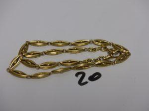 1 giletière en or à décor de grains de café (L43cm). PB 44,2g