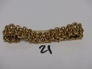 1 bracelet maille fantaisie en or avec sécurités (L20cm). PB 36,2g