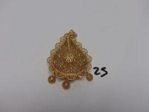 1 pendentif meskia en or (H10cm). PB 58,1g