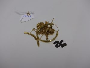 1 lot casse en or dont 1 boucles avec petites pierres) PB 11g (+1 fermoir en métal)