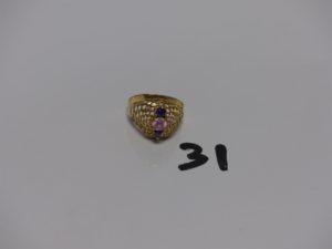 1 bague en or ornée de 3 petites pierres (Td61). PB 3,3g