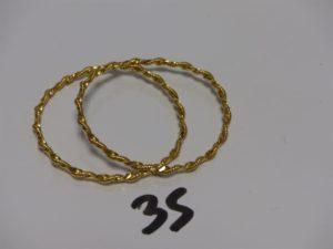 2 bracelets joncs torsadés pour enfant (diamètre 4,5cm) en or 21K. PB 16,1g
