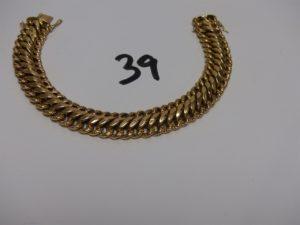 1 bracelet gourmette en or (1 peu cabossé,L19cm et sécurité cassé). PB 21g