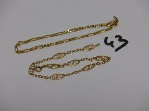 2 bracelets en or : 1 à motifs filigranés (L20cm ) et 1 maille alternée (fermoir à fixer, L20cm). PB 8,2g