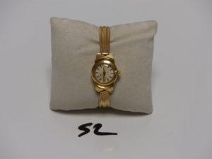 1 montre Dame bracelet et boîtier or de marque LIP (L16cm, hors service). PB 21,5g