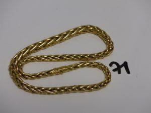 1 collier maille palmier en or (L43cm). PB 33,2g