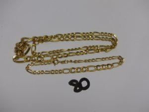 1 collier (L43cm) et 1 bracelet (L18cm) maille alternée et creuse en or (1 peu cabosés). PB 8,7g
