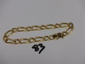 1 bracelet maille alternée en or (fermoir cassé,L25cm). PB 34,1g