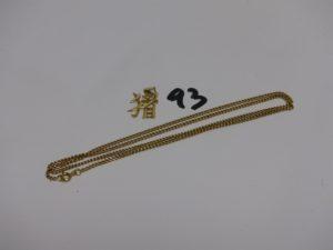 1 chaîne maille gourmette (L52cm) et 1 pendentif lettres chinoises. Le tout en or PB 9,2g