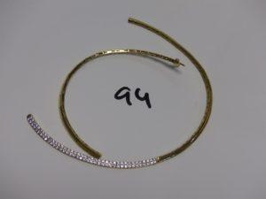 1 collier maille articulée cassé, motif central orné de petites pierres (diamètre env. 14cm).Le tout en or PB 23,3g