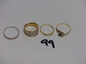 1 alliance (td59), 1 bague bicolore (td57), 1 alliance ornée de petites pierres (td54) et 1 bague ornée de 2 petites pierres (td58). Le tout en or PB 6,8g
