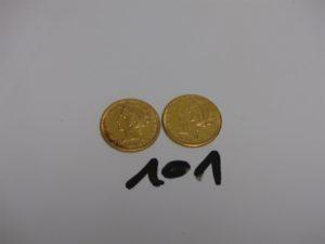 2 Pièces de 5 Dollars Tête de Liberté 1886 et 1892, en or. PB 16,6g