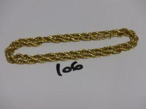 1 chaîne maille tressée en or (L60cm). PB 17,6g