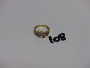 1 bague en or, ornée de petites pierres bleues et de 6 petits diamants (td53). PB 4g