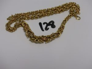 1 Collier maille royale tricolore en or (L46cm). PB 17,1g