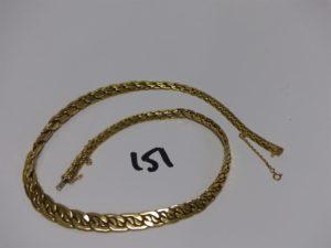 1 collier maille festonnée en or poli et granité (L46cm). PB 21,5g