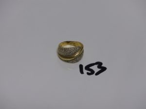 1 bague en or ornée de diamants (td53). PB 7,8g