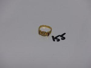 1 bague en or ornée de petites pierres rouges et petits diamants (td56). PB 5,1g