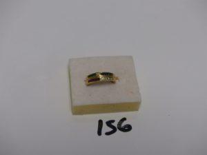 1 bague en or ornée de petites pierres rouges vertes bleues et de petits diamants (td53). PB 4,2g