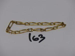 1 bracelet maille alternée en or (fermoir cassé, L23cm). PB 17,7g