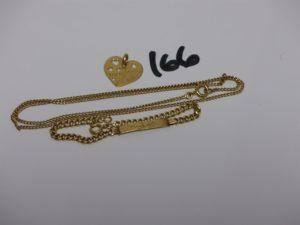 1 chaîne maille gourmette (L41cm), 1 pendentif coeur et 1 bracelet gourmette gravée (L13cm). Le tout en or PB 8,5g
