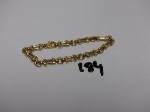 1 bracelet maille fantaisie bicolore en or (L20cm). PB 30,6g