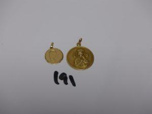 2 médailles en or. PB 7,3g