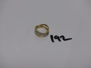 1 bague en or monture bicolore ornée de petits diamants (td53). PB 3,6g