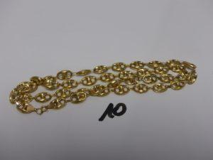 1 collier maille grain de café en or (creux, L63cm). PB 9,9g
