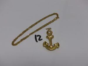 1 chaîne maille torsadée (L50cm) et 1 pendentif en forme d'ancre. Le tout en or PB 7,8g