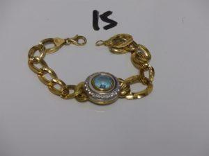1 bracelet maille fantaisie un peu cabossé, motif central orné de pierres (L17cm). Le tout en or PB 13,8g