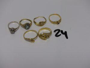 1 Lot de 6 bagues en or ornées de petites pierres (2xtd46, td49, td50, td51 et td55). PB 13,2g