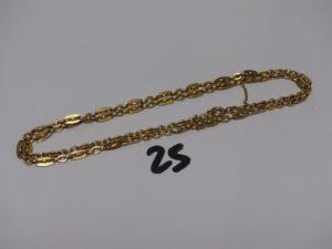 1 chaîne maille fantaisie en or, avec chaînette de sécurité (L57cm). PB 15,5g