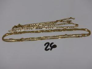 2 chaînes en or (1 maille alternée fermoir à fixer et anneau de bout à souder L50cm et 1 maille torsadée L60cm).PB 15,6g
