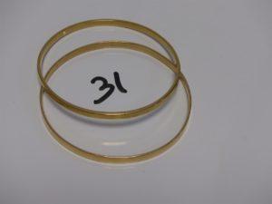 2 bracelets demi-joncs plats en or (diamètre 7cm). PB 39,6g