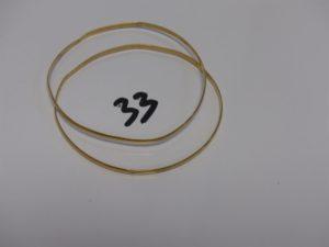 2 bracelets demi-joncs en or (diamètre 7cm). PB 13,6g
